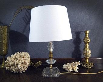 Cut Glass Crystal Lamp Hollywood Regency Boudoir Table Lamp 30s 40s Bedside Lamp