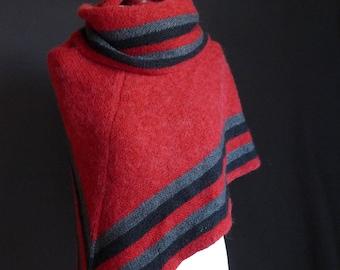 Vintage-handgemachte Schal, rote Hand gestrickt, roten Schal, Dreieckstuch, Vintage wickeln mit schwarzen und grauen Streifen
