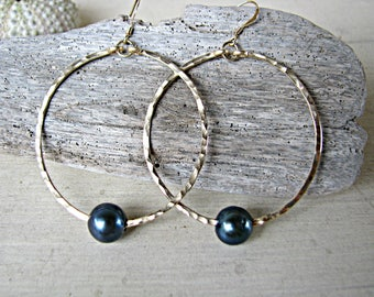Extra Thick 16-Gauge Large 14k Gold-Filled Round Hoops with 9mm-10mm Black Freshwater Pearls