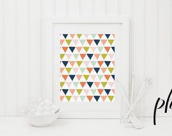 Geometric print, Abstract Art, Geometric Art, Geometric Wall Art Geometric Printable, Printable Homeschool, Multi Colored Triangles Nursery