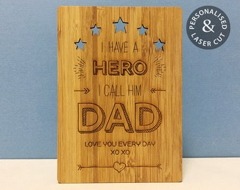 Personalised Hero Dad Card | Father's Day or Birthday Card | Laser Cut & Engraved Bamboo