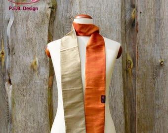 Silk scarf, scarf, silk, silk, raw, apricot champagne, orange, cream, two colours