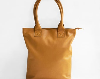 The Essential Tote in Caramel, Leather Tote Bag, Leather Bag, Brown Tote Bag, Tote Bag, Brown Leather Tote, Cognac Leather Bag, Camel tote
