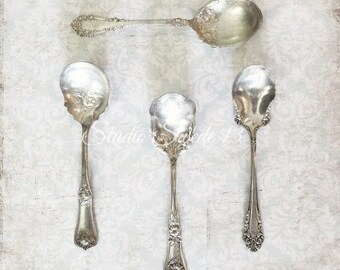 "Kitchen Print, Silver Vintage Spoons, Kitchen Wall Decor, Silverware Art For Kitchen, Shabby Cottage Chic, Victorian Print- ""Silver Spoons"""