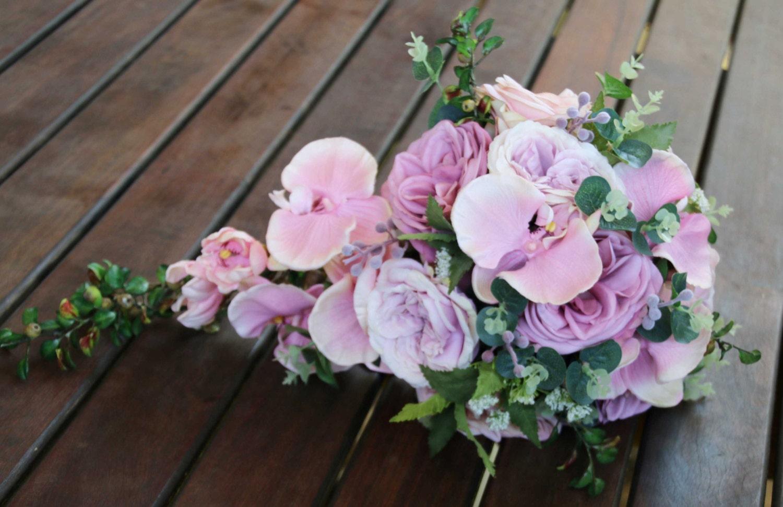 Teardrop cascade bridal bouquet wedding flowers artificial