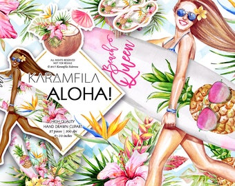Aloha Clipart Summer Clip Art Tropical Fruits Clipart Beach Clipart Watercolor Fashion Clipart Surf Boards Pineapples Planner Stickers DIY