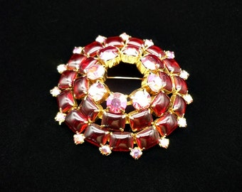 Vintage Large Red Domed Rhinestone Brooch, Red Brooch, Domed Brooch, Rhinestone Brooch, Large Brooches, Vintage Brooches, 1950s Jewelry