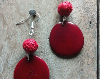 1392 - earrings red tagua or vegetable ivory, and cinnabar carved beads