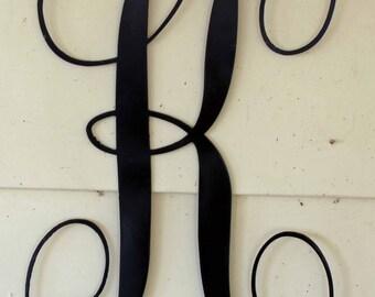 """12 inch Black Script Metal Letter """"K"""" Door or Wall Hanging"""