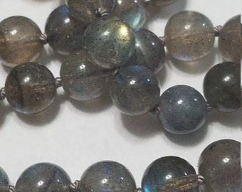Labradorite Necklace, Hand Knotted, Gray Silk Cord and Sterling Silver Clasp - 17""