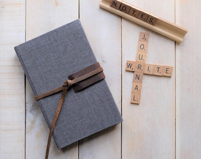 """Linen and Leather Journal or Sketchbook in """"Charcoal Gray"""""""