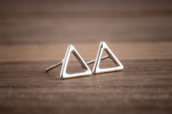 Tiny Sterling Silver Triangle Earrings
