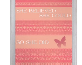 She Believed She Could So She Did Shakespeare Literary Quote Print