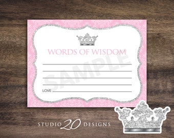 Instant Download Pink Princess Advice Cards, Pink Silver Glitter Words of Wisdom, Printable Pink Grey Baby Shower Advice Cards #66D