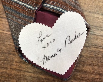 "HANDWRITTEN MEMORY PATCH - Memory Tie Patch, Photo Patch, In Memory Of, Sew On, Iron On, 2.25"" Heart Shaped Patch or 2.5"" Square Patch"