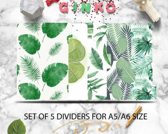 Green Planner Dividers - Set of 5 Planner dividers for A5 / A6 Tropical Leaves Index Planner Dividers