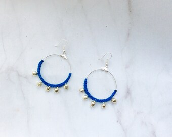 Macrame and silver plated  bollywood inspired hoop earrings with tiny bells