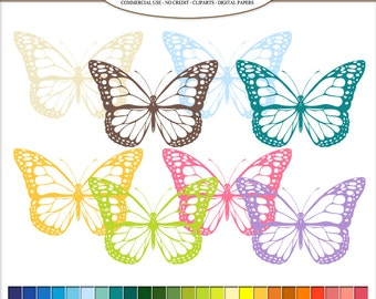 50 Clip Art Butterfly, Spring Digital illustrations in 50 rainbow colors. transparent cute butterflies PNG, clipart, image Commercial Use