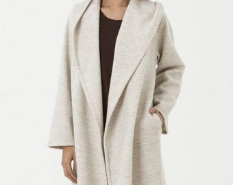 Cream Boiled Wool Jacket - Carmen Jacket