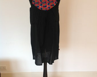 Strappy tunic/mini dress, black with embroidery detail, beach cover up, vacation wear, 100% cotton, boho chic