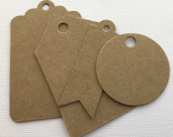 Tag Chipboard Die Cuts - Bare Kraft Embellishments - 4 Styles  - Scallop Tags, Dove Tail, Point &  Round Tags
