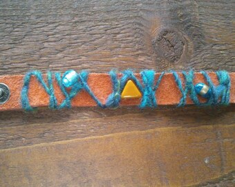 leather bracelet with wool