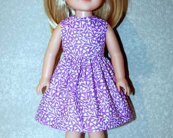 "Dress for 14.5"" Wellie Wishers or Melissa & Doug handmade Doll Clothes Christmas light purple  tkct1199 READY TO SHIP"