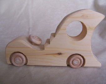 Toy Car Space Taxi Created from Reclaimed Wood for the Little Kids, Children, and Your Toy Collection