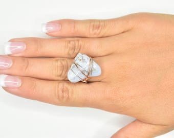 Blue Lace Agate Wire Wrapped Ring