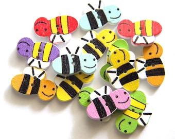 6 Painted Wooden Bee Buttons