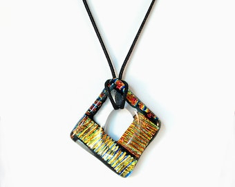 Dichroic fused glass pendant long adjustable necklace Orange,blues, greens, gold, rainbow colors