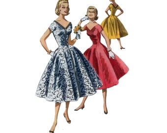 50s Princess Seam Dress pattern Fit and Flare Dress vintage 31-25.5-34 Cocktail Dress pattern mccalls 3434