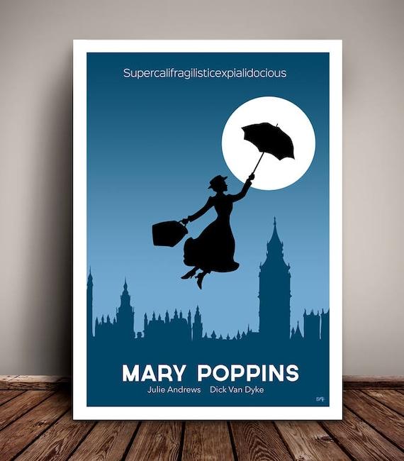 Mary Poppins // Disney // Minimalist Movie Poster // Unique Art Print