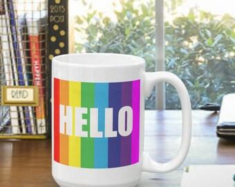 Rainbow Hello Coffee Mug, Looks Like The mug From Big Bang Theory, Funny, Quote, TV, Original Gift Idea, 8 Different mugs, Make It A Set