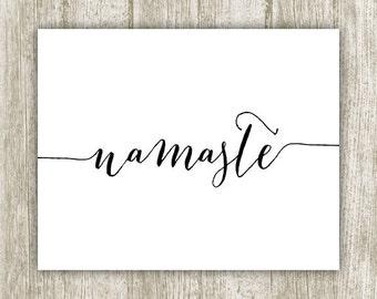 Namaste Printable, Yoga Print, Namaste Print, Yoga Printable, Yoga Wall Art, Yoga Spiritual Art, Calligraphy Yoga Art 8x10 Instant Download