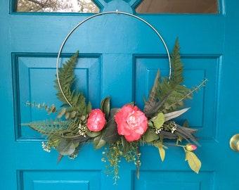Modern Summer Hoop Wreath