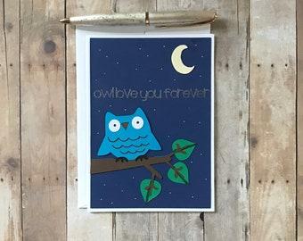 Owl Love Card, Love Card for Her, Anniversary Card for Him, Card for Her, Love Card for Friend, Paper Handmade Card, Valentine's Love