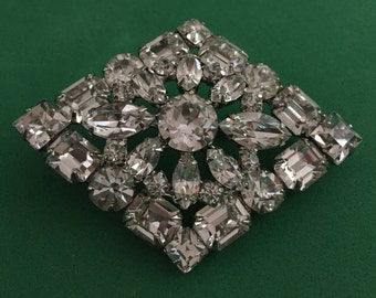 Weiss Emerald Cut Pin Brooch, Vintage Weiss Rhinestone Emerald Cut Pin Brooch, Weiss Clear Rhinestone Pin Brooch, Weiss Pin Brooch