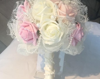 Wedding Flower Bouquet, Bridal Bridesmaid Flower Girl, Vintage Rose Lace Pearls, Special Occasion