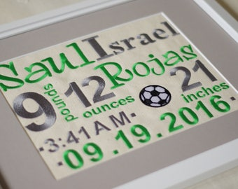 Soccer Nursery Wall Decoration - Birth Stats - Embroidered Subway Art - 11X14 - Personalized birth announcement - Heirloom Keepsake Gift