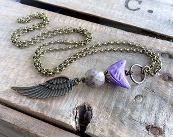 Purple Artisan Ceramic Bird Necklace. Mixed Media Necklace. Stacked Pendant. Nature Inspired Bird Jewelry. Whimsical Wing Necklace