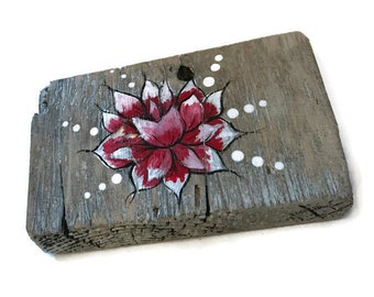 Rustic Red Lotus Flower SIgn made from Reclaimed Wood