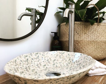 Countertop Sink, Bathroom Basin, Hand Basin, Floral Print, Hand Built, Unique, Made in Australia, Free Delivery in Australia.