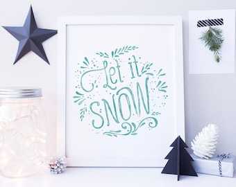 Festive Home Decor, Let it Snow Sign, Christmas Printable, Christmas Decor, Christmas Decoration, Christmas Home Decor, Holiday Decoration