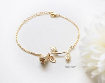 Rose bracelet, Bridesmaid jewelry, Bridesmaid bracelet, Wedding bracelet, Personalized bracelet, Flower bracelet, Valentines day, Gift