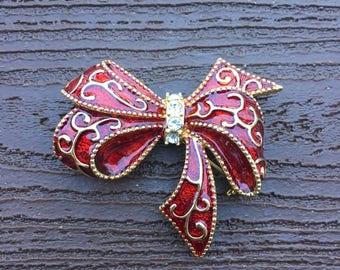 Vintage Jewelry Signed Monet Enamel Red Ribbon Pin Brooch