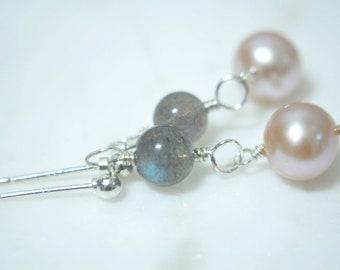 Dainty Blue Flash Labradorite and Pink Fresh Water Pearl Drop Earrings, sterling silver, dangle earrings, simple earrings, minimalist,modern