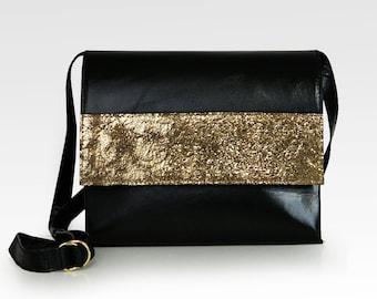 Crossbody Shoulder Bag, genuine leather in black and gold, messenger bag, leather purse, evening bag