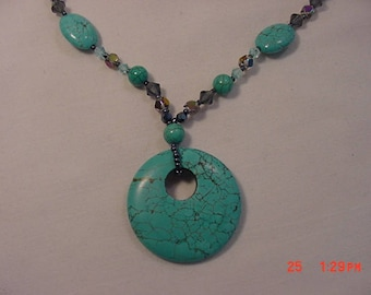 Vintage Faux Turquoise And Aurora Borealis Glass Beads Necklace  18 -402
