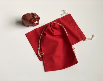 """25 pcs 6"""" x 10"""" RED Double Drawstring Bags - Red Velvet - Muslin Bags"""